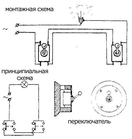 Как сделать управление лампочкой двумя переключателями